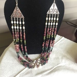 5 Strand Tourmaline and Pearl Necklace